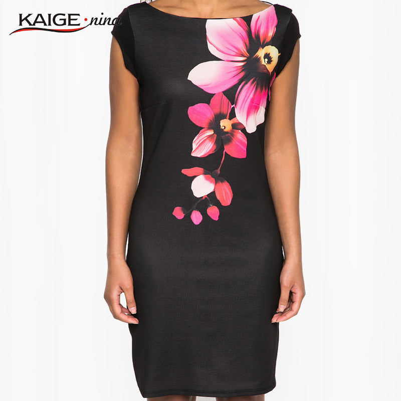 Tropical Floral New Women's Fashion Personality Pure Color Applique Adornment Straight Knee Summer Dress With Short Sleeves 1239