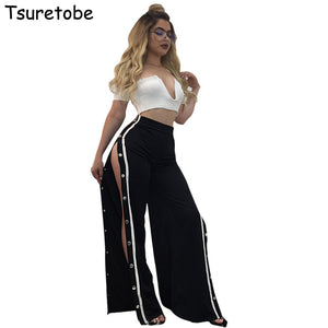 Tsuretobe New Fashion Sexy High Split Pants Women Plus Size Button Wide Leg Casual Pant Female 2017 Summer Loose Women Trousers