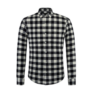 U&Shark British Style Long Sleeve Casual Black Plaid Shirt Brand Men Blouse 2016 Autumn Fashion Flannel Check Shirt Male Chemise