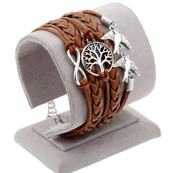 Vintage Braided Lion Bracelets Birds Fox Owl Love Best Friends Charm Bracelets For Women & Man Heart Jewelry Leather Bracelet