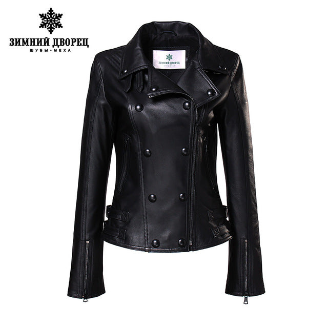 WINTER PALACE high fashion leather jacket women short paragraph lapel leather turkey imported single leather jacket