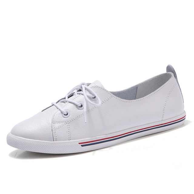 WeiDeng Genuine Leather Women Flats White Soft Soled Pointed Toy Preppy Style Lace Up Vulanizeed Shoes Flat Embosses Shoes