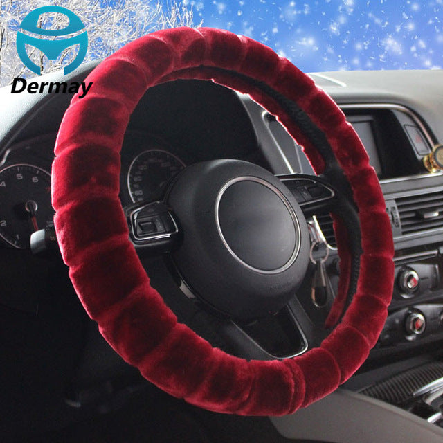 "Winter Warm Imitation FUR STEERING WHEEL COVER For Car Steering Wheel 14-15""M Size 95% Cars Non-slip Free Shipping"