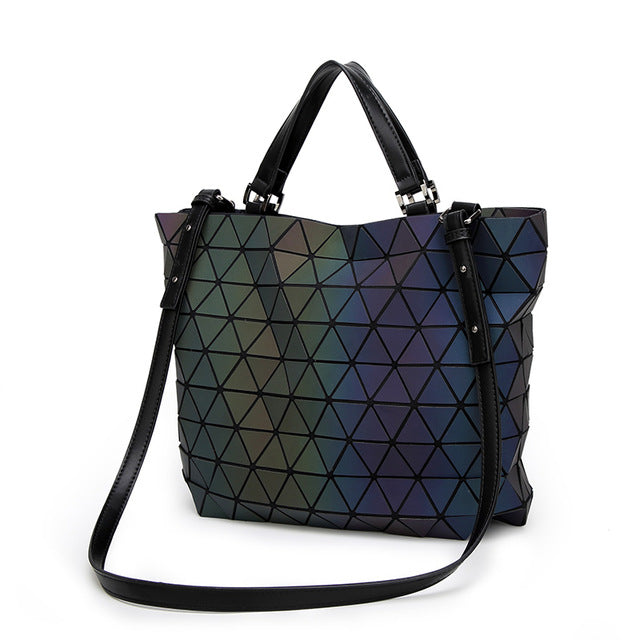 Women BaoBao Bag Geometry Sequins Mirror Saser Plain Folding Bucket Bags Luminous Handbags Ladies Casual Tote Bao Bao Purse 2017