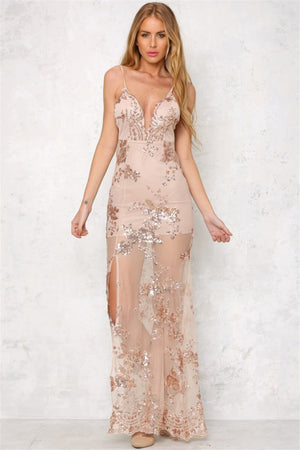 Women Gold Sequined Summer Dress Elegant Spaghetti Strap Deep V Neck Embroidery See Through Maxi Dress Sexy Backless Party Dress