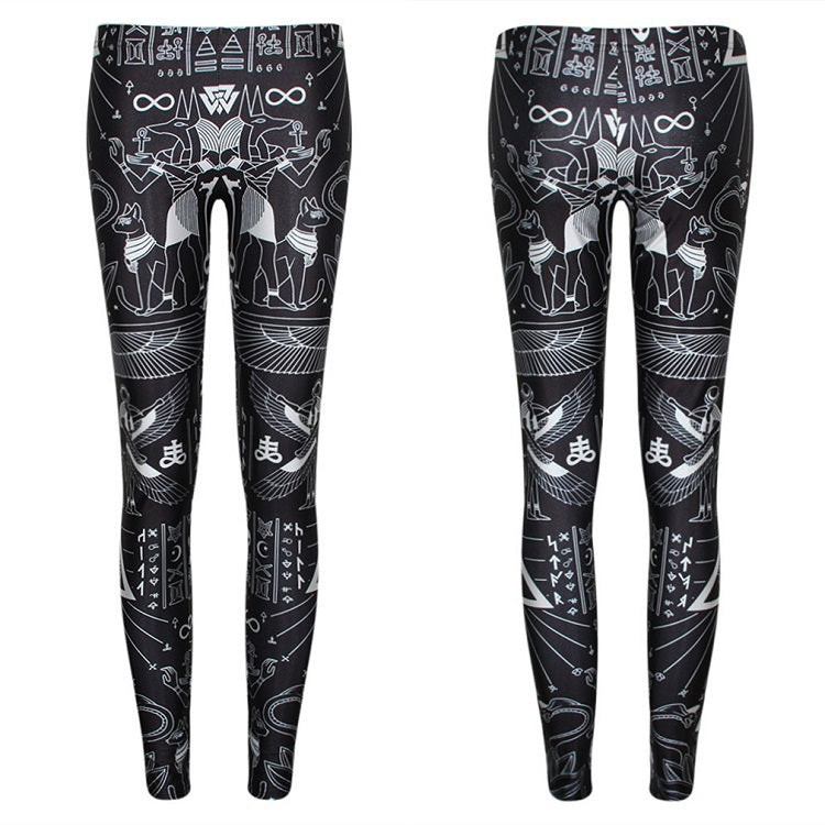 Women Leggings High Waist Leggins for Girls Casual Slim Punk Goth Rock Style Skull 3D Print Black Gothic Pants Clothing Clothes