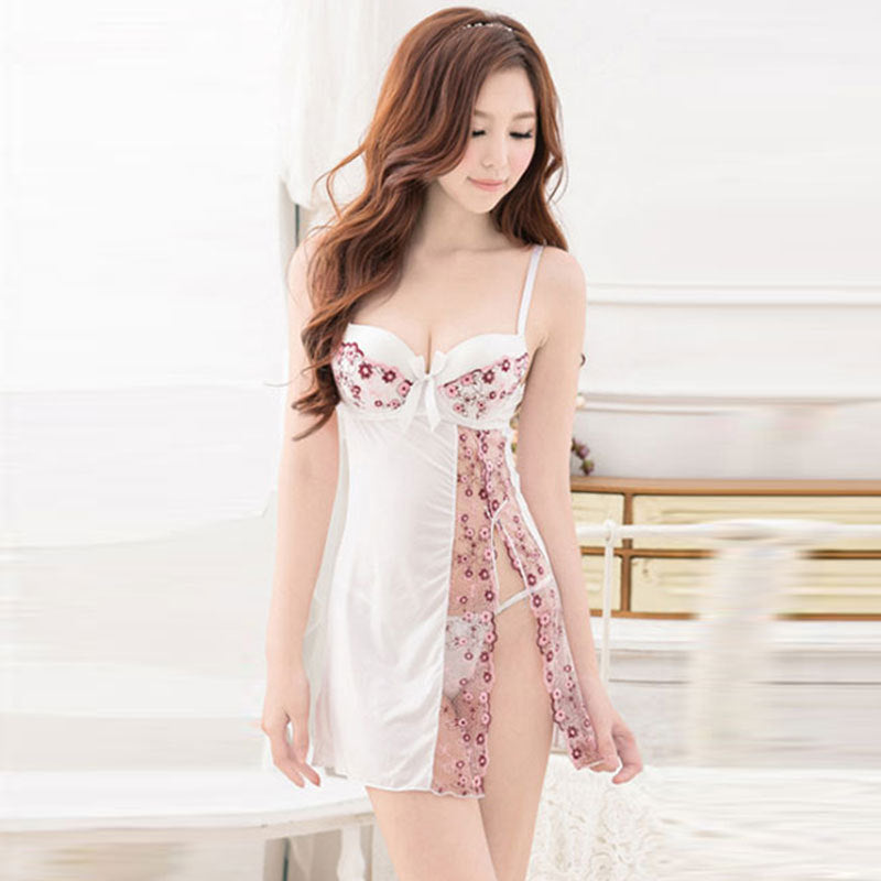 Women Sexy Lingerie Silk Sleepwear Lace Hallow Out Floral Summer Night Dress Padded Bra Nightgown Set & T-Back Camisola AP039