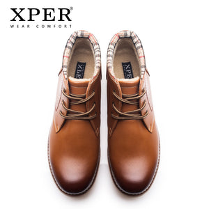 XPER Brand New Fashion Genuine Leather Men Boots Cow Leather Men Shoes Ankle Short Plush Winter Warm Shoes XYWD22709BR