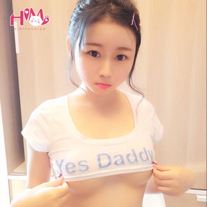 Yes Daddy Women Crop T-Shirt Japanese Style Summer Black Sexy Gal Funny Tee Shirts Female Tops White Fashion Print Letter 2017