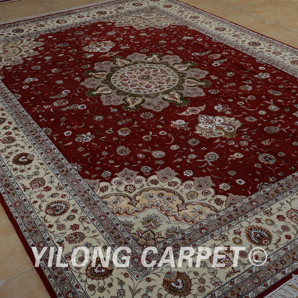 Yilong 10'x14' handmade red and beige wool area rugs exquisite modern wool silk carpet (1506)
