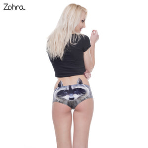 Zohra Unique Design Women Ear Underwear Civet Cats 3D Printing Sexy Panties Woman Animal Underwear