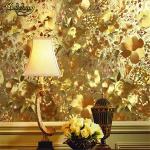 beibehang papel de parede. Floral gold foil wallpaper gold embossed background wall wallpaper for living room ceiling wallpaper