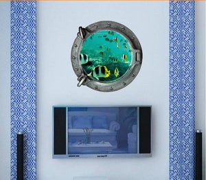 fantastic 3d submarine portholes wall sticker kids coral fish boat scuttles decals mural art nursery home decor
