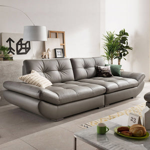 genuine leather sofa sectional living room sofa corner home furniture couch 4-seater functional backrest modern style