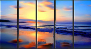 handmade 5 piece seascape landscape oil painting on canvas wall art ocean beach picture for home decor unique gift free shipping