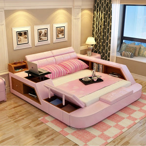 bedroom furniture storage. Interesting Bedroom Modern Leather Queen Size Storage Bed Frame With Bookcase Cabinets  Stool No Mattress Bedroom Furniture On Bedroom Furniture Storage