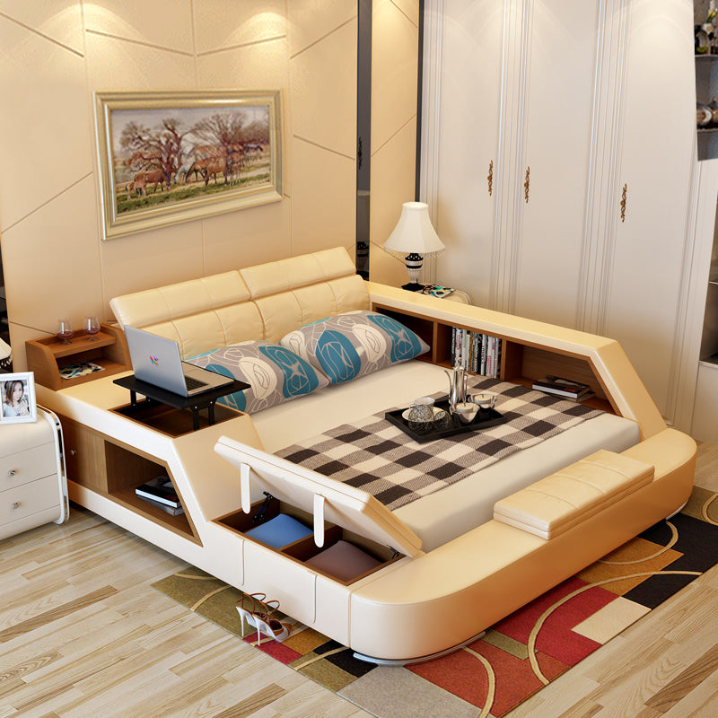 Modern Leather Queen Size Storage Bed Frame With Storage Bookcase