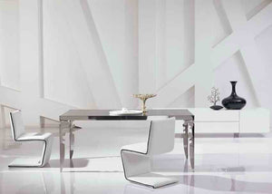 modern new stainless steel dining room set with glass table, leather chairs(1+4 chairs)  unique designer