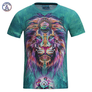 Mr.1991INC New Fashion Men/women 3d t-shirt funny print colorful hair Lion King summer cool t shirt street wear tops tees