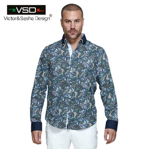 Italian Fashion 7 Camicie Style Men's Flower Printed Shirts Long Sleeve Men's Shirt Plus Size Euro Size Homme camiseta masculina