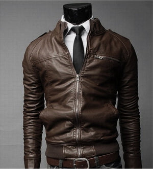 new arrive brand motorcycle leather jackets men,mens PU leather jacket jaqueta de couro masculina slim leather jacket