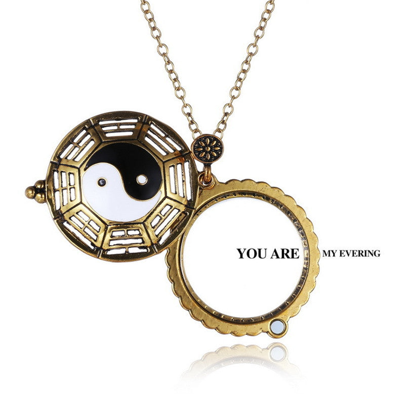 Retro Hollow Yin and Yang Gossip Magnifying Glass Necklace New Fashion  Necklace Jewelry for Men Women Gift