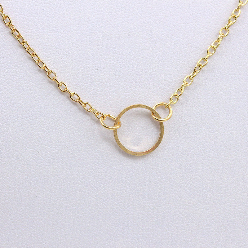 New Fashion 2016  Fine Jewelry Extreme Simplicity Simple Metal Circle Infinity Pendant Necklace For Women