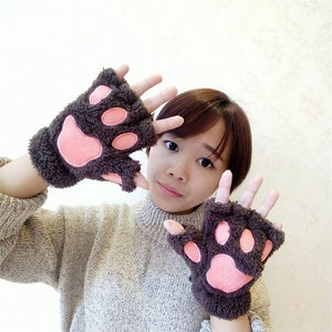 Cute Bear Paw Plush Gloves Winter Warm  Knitted  Gloves High Quality Half Finger  Cartoon Glove For Girl and Women Gift