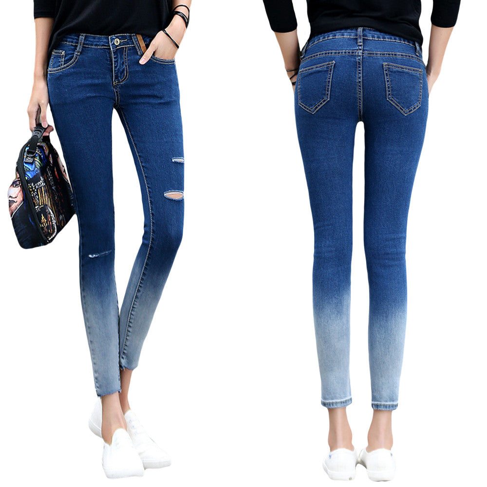 2016 Hot Sale Women Jeans Skinny Hole Ripped Pencil Pants Casual  Mid-waist Elastic Femme Denim Pants Korean Style Lady Trousers