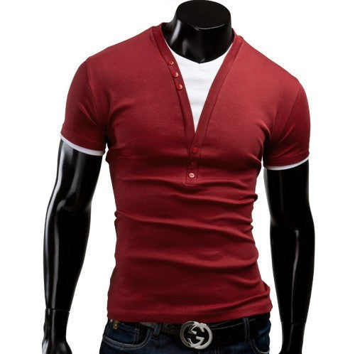 Fit Slim 2015 New Fashion Men T-Shirt Fake Two Piece T-Shirt V-Neck Casual Fashion Solid Leisure Suit Free Shipping 5 Color