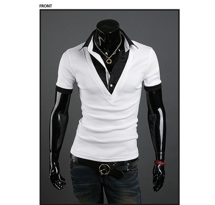 Mens Summer Tops Tees Short Sleeve T-Shirt Man,Solid Men's T-shirt Men's Brand Fashion Fake Two Piece T- Shirt