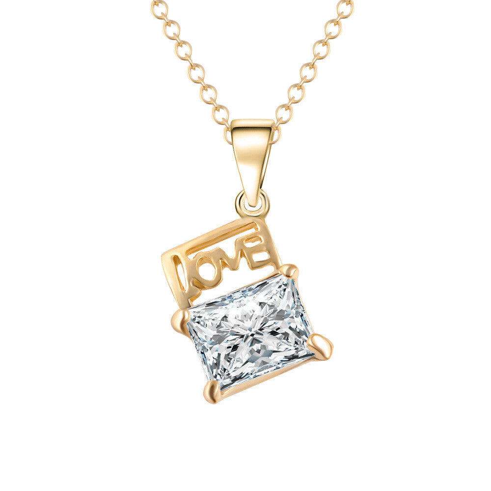 New Arrival Fashion Chain Zircon LOVE Necklace Trendy Square Design Statement Jewelry 2016 Women Pendants