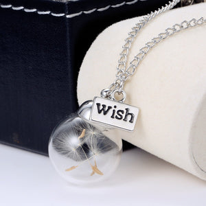 Make A Wish Glass Bead Orb silver plated Necklace jewelry Glass bottle necklace Natural dandelion seed in glass long necklace