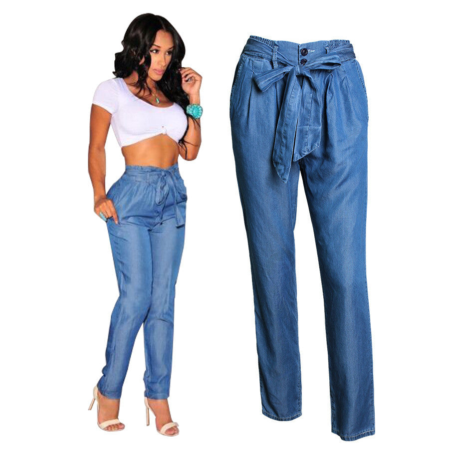 2016 New Arrival Women High Waist Denim Pants Summer Elastic Waist Pants Casual Loose Thin Jeans Women