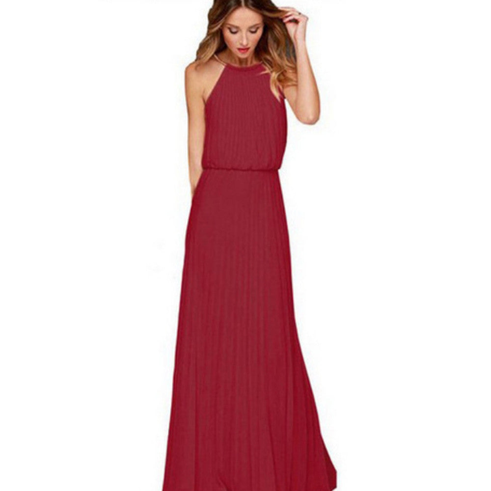 2016 Summer Sexy Dress Bohemian Style Sleeveless Floor Length Casual Long Dresses Women Chiffon Halter Jurkjes