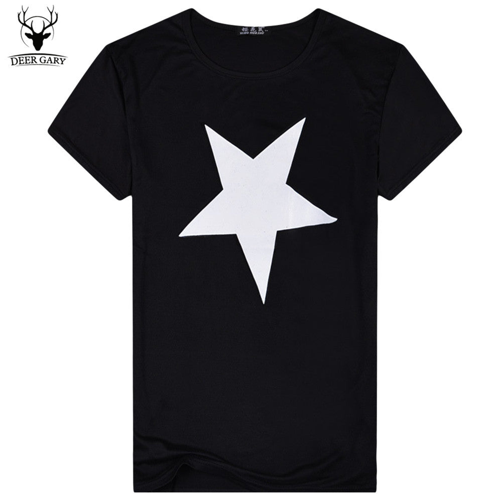 New Summer Fashion 2016 Star Pattern Print Solid Men t shirt Casual Short Sleeve T Shirt Cotton Men T-shirt O-Neck Tops Tees