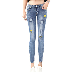 2016 New Korean Style Women Skinny Jeans Mid-waist Ripped Pencil Denim Ankle-length Pants Casual Slim Fit Elastic Femme Trousers