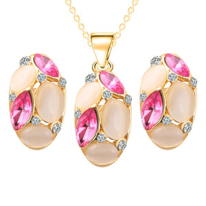Classic Ruili Crystal Necklace Earrings  Oval Shape Design New Fashion Jewelry Sets for Wedding Gift Wholesale