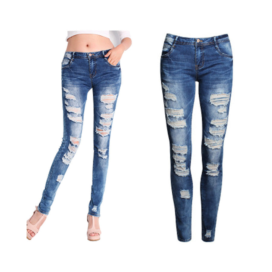 Skinny Jeans Women 2016 New Summer Style Women Jeans Fashion Holes Denim Harem Pants Ripped Jeans Woman