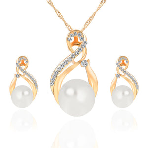 Female Fashion Crystal Pendants Necklace Hot Selling Earrings Pendant Jewelry Set 2 Colors