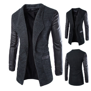 New Winter Fashion 2015 Leather Sleeve Long Wool Men Coat Hot Casual Slim Fit Men Jacket Coat Patchwork Solid Long Men Outwear