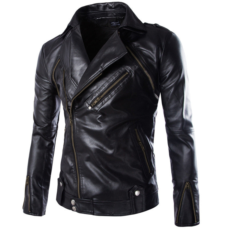New Fashion 2015 Quality Detachable Winter Men Coat Leather Jacket Locomotive Black Leather Jacket Men Sleeve Removable M-3XL