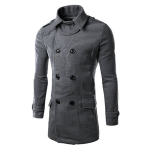 New Fashion 2016 Winter Overcoat Long Men's Trench Coat Double Breasted Leisure Long Solid Slim Fit Wool Men Coat M-3XL 3 Colors