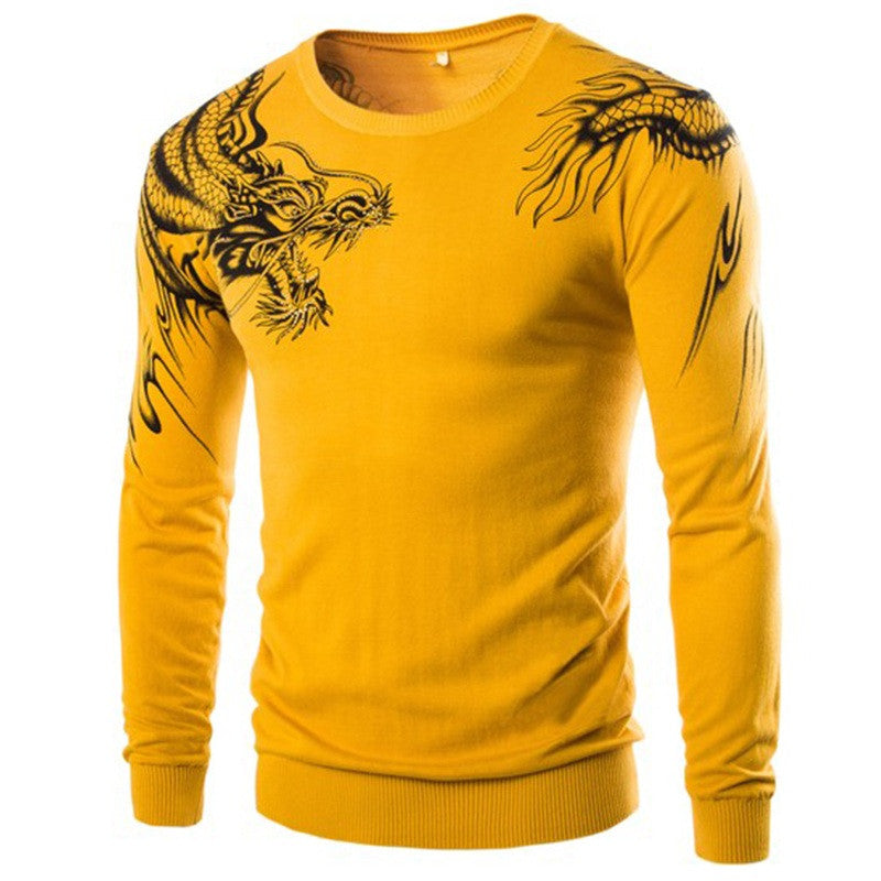 New Fashion Chinese Style 2015 High Quality Men's Slim Fit Printed Sweaters Hot Sell Male Warm Pullovers 3Color M-XXL