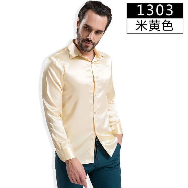 2017 Fashion Shiny Silky Satin Dress Shirt Luxury Silk Like Long Sleeve Mens Casual Shirts Performance wear