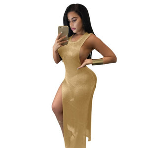 2017 summer sexy sheath sleeveless high waist solid gold mesh dress women bodycon club beach dress split party dresses 4 colors