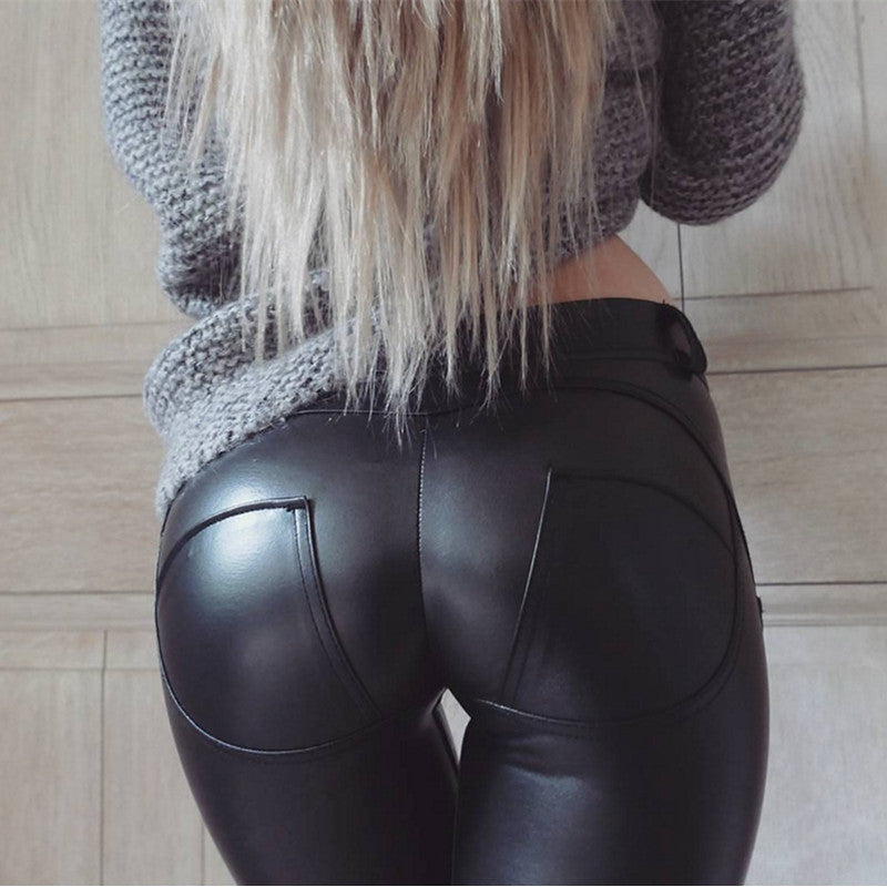 Faux Leather Hot Sale Elastic Shaping Hip Push Up Pants Bottom Black Sexy Leggings Women Jegging Gothic Leggins EXE0319