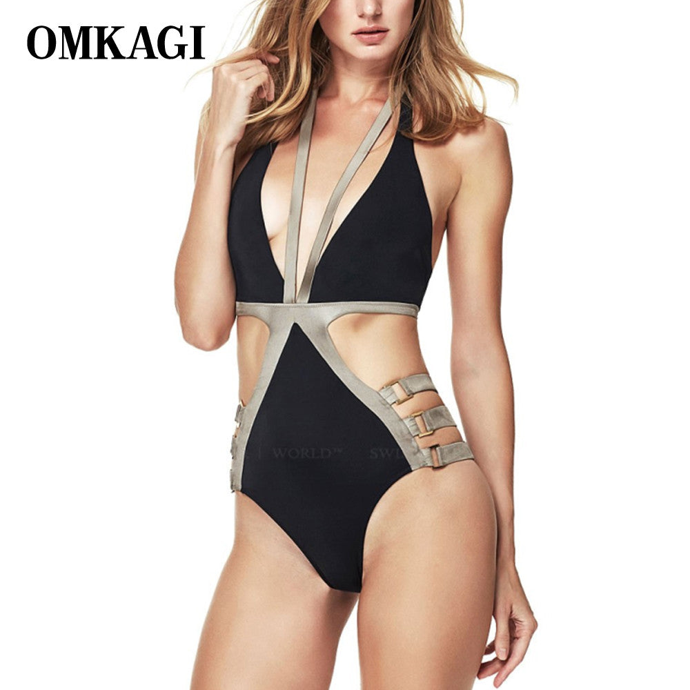 OMKAGI Brand Sexy Deep V One Piece Swimsuit Patchwork Monokini Push Up Padded Swimwear Women Bodysuits Summer Beach Bathing Suit