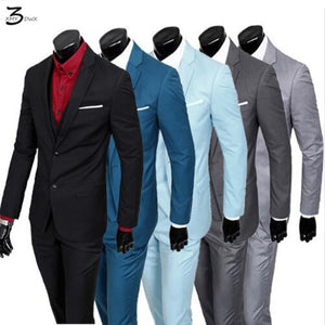 (Jacket+Pants+Vest)2016 Men Suits Brand business Blazers Jacket Formal Dress Men Suit Set Male Wedding Groom Tuxedos three-piece
