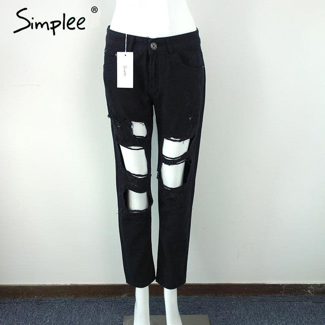 Simplee Apparel Boyfriend hole ripped jeans women pants Cool denim vintage straight jeans for girl Mid waist casual pants female